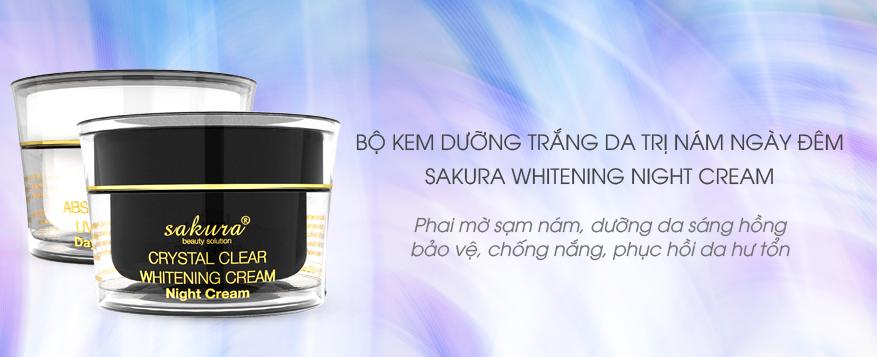 Bộ đôi kem dưỡng, giảm nám hiệu quả Sakura Whitening